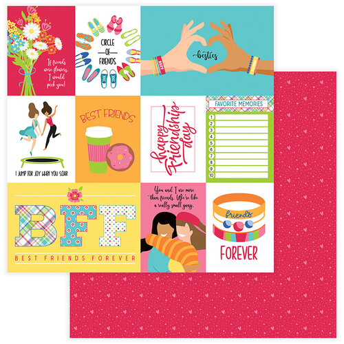 Photo Play Paper - Best Friends Collection - 12 x 12 Double Sided Paper - Besties