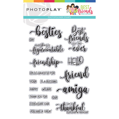 Photo Play Paper - Best Friends Collection - Clear Photopolymer Stamps - Words
