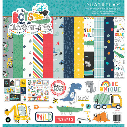 Photo Play Paper - Little Boys Have Big Adventures Collection - 12 x 12 Collection Pack