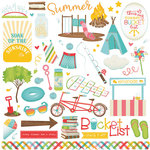 Photo Play Paper - Summer Bucket List Collection - 12 x 12 Cardstock Stickers - Elements - One