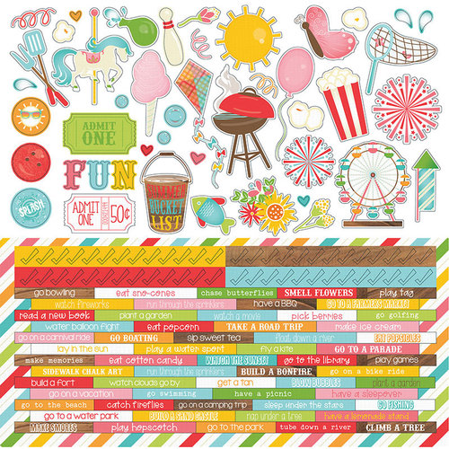 Photo Play Paper - Summer Bucket List Collection - 12 x 12 Cardstock Stickers - Elements - Two