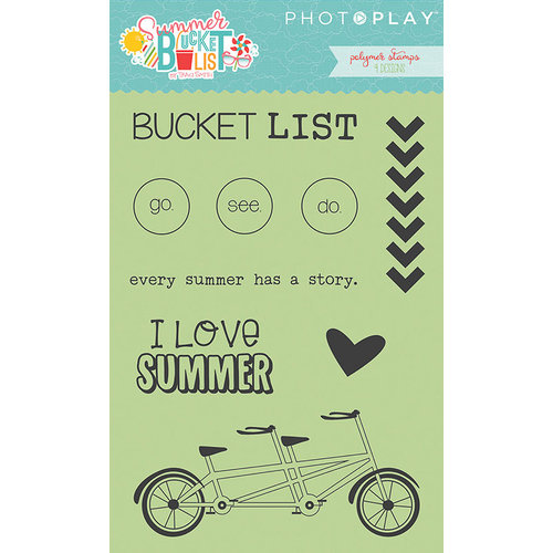 Photo Play Paper - Summer Bucket List Collection - Clear Acrylic Stamps - Icons