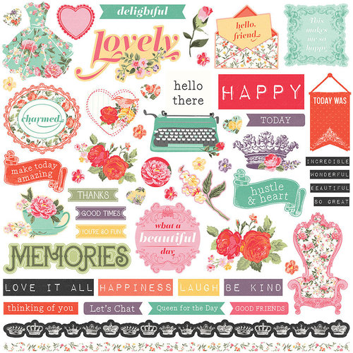 Photo Play Paper - Belle Fleur Collection - 12 x 12 Cardstock Stickers - Elements