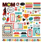 Photo Play Paper - Best Mom Ever Collection - 12 x 12 Cardstock Stickers - Elements