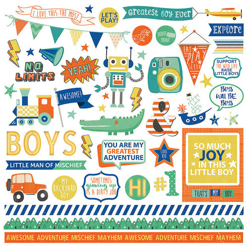 Photo Play Paper - Boys Rule Collection - 12 x 12 Cardstock Stickers - Elements