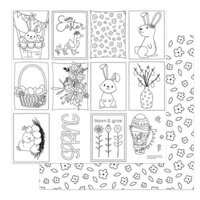 Photo Play Paper - Baskets of Bunnies Collection - 12 x 12 Double Sided Paper - Color Me Sheet