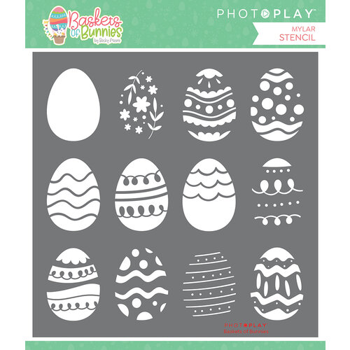 Photo Play Paper - Baskets of Bunnies Collection - 6 x 6 Stencil - Baskets of Bunnies