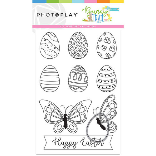 Photo Play Paper - Bunny Trail Collection - Color Me - 4 x 6 Card with Egg Die