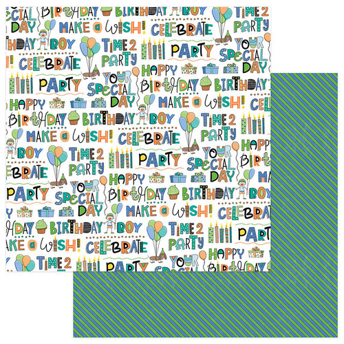 Photo Play Paper - Birthday Boy Wishes Collection - 12 x 12 Double Sided Paper - Time To Party