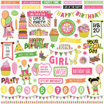Photo Play Paper - Birthday Girl Wishes Collection - 12 x 12 Cardstock Stickers - Elements