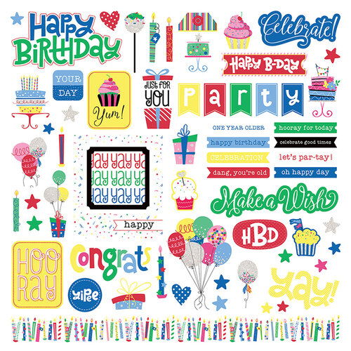Photo Play Paper - Confetti Collection - 12 x 12 Cardstock Stickers - Elements