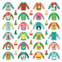 Photo Play Paper - Tulla & Norbert's Christmas Party Collection - 12 x 12 Single Sided Paper - Pre-Colored Die Cut Outs - Ugly Sweater