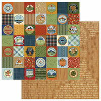 Photo Play Paper - Campfire Collection - 12 x 12 Double Sided Paper - Badges