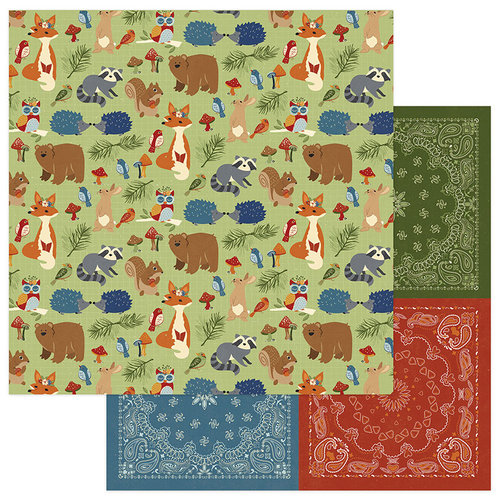 Photo Play Paper - Campfire Collection - 12 x 12 Double Sided Paper - Woodland Critters