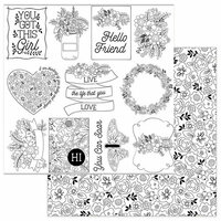 Photo Play Paper - Color Me Collection - 12 x 12 Double Sided Paper - Hello