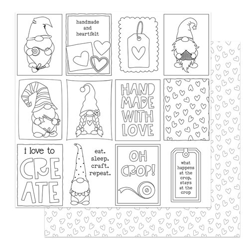 Photo Play Paper - Crafting With My Gnomies Collection - 12 x 12 Double Sided Paper - Color Me Cards