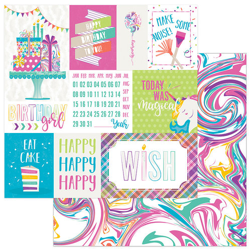 Photo Play Paper - Cake Collection - Rainbow Sprinkles - 12 x 12 Double Sided Paper - Make A Wish