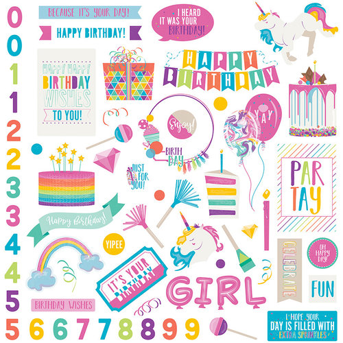 Photo Play Paper - Cake Collection - Rainbow Sprinkles - 12 x 12 Cardstock Stickers - Elements