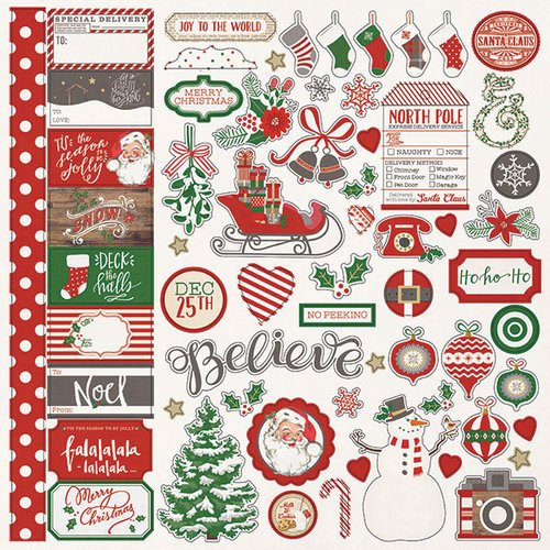 Photo Play Paper - Dear Santa Collection - Christmas - 12 x 12 Cardstock Stickers - Elements