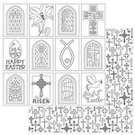 Photo Play Paper - Easter Joy Collection - 12 x 12 Double Sided Paper - Color Me - Easter