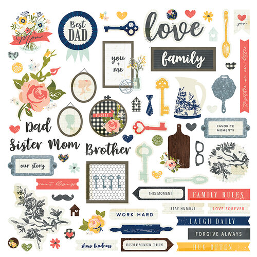 Photo Play Paper - We Are Family Collection - 12 x 12 Cardstock Sticker Sheet