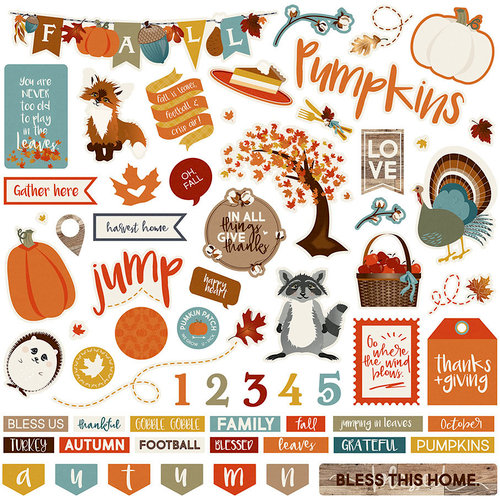 Photo Play Paper - Fall Breeze Collection - 12 x 12 Cardstock Stickers