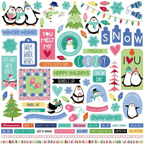 Photo Play Paper - Frosty Friends Collection - Christmas - 12 x 12 Cardstock Stickers - Elements