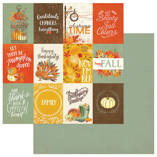 Photo Play Paper - Falling Leaves Collection - 12 x 12 Double Sided Paper - 3 x 4 Cards