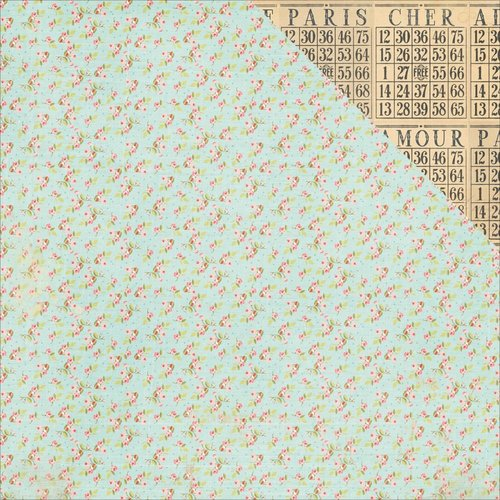Photo Play Paper - French Flea Market Collection - 12 x 12 Double Sided Paper - Boutons De Rose