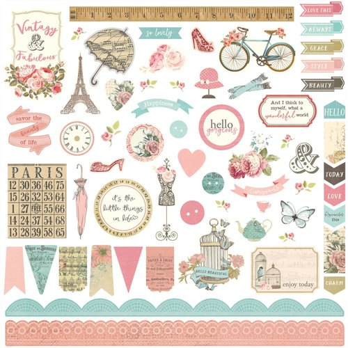 Photo Play Paper - French Flea Market Collection - 12 x 12 Cardstock Stickers - Elements