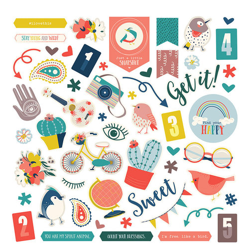 Photo Play Paper - Free Bird Collection - 12 x 12 Cardstock Stickers - Elements