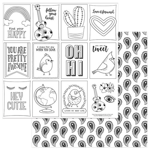 Photo Play Paper - Free Bird Collection - 12 x 12 Double Sided Paper - Color Me Pretty Bird