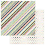 PhotoPlay Paper - Family Ties Collection - 12 x 12 Double Sided Paper - Multi Stripe