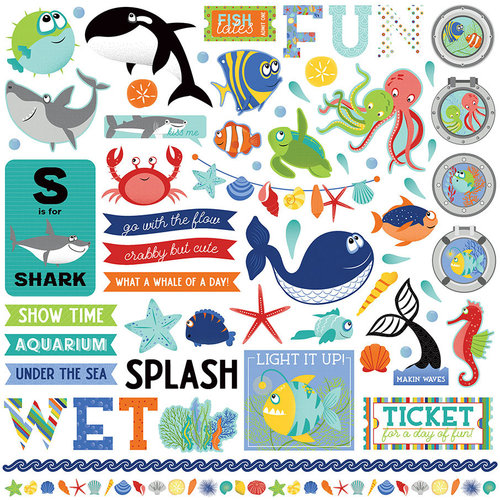 Photo Play Paper - Fish Tales Collection - 12 x 12 Cardstock Stickers - Elements