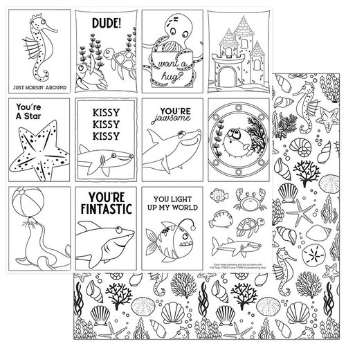 Photo Play Paper - Fish Tales Collection - 12 x 12 Double Sided Paper - Color Me