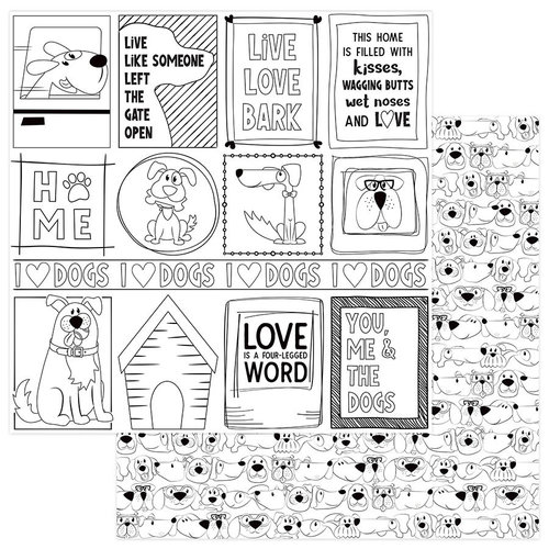 Photo Play Paper - Fetch Collection - 12 x 12 Double Sided Paper - Color Me - Black and White Dogs