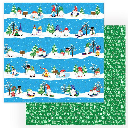 Photo Play Paper - Gnome for Christmas Collection - 12 x 12 Double Sided Paper - Ski Slopes