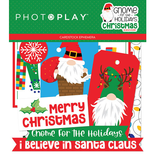 Photo Play Paper - Gnome for Christmas Collection - Die Cut Cardstock Pieces - Ephemera