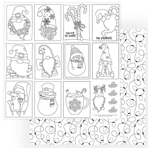 Photo Play Paper - Gnome for Christmas Collection - 12 x 12 Double Sided Paper - Color Me Sheet