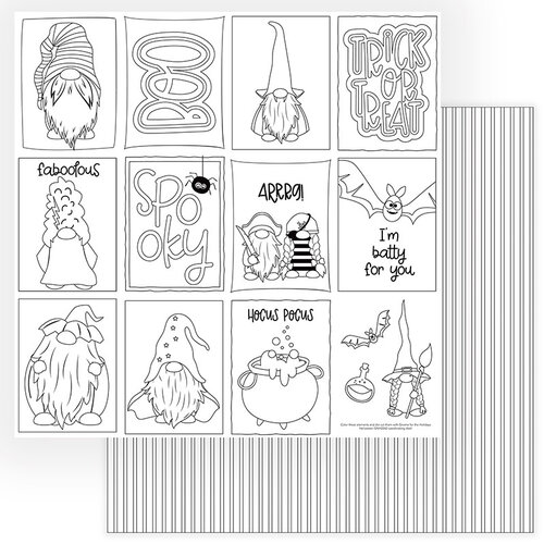 Photo Play Paper - Gnome for Halloween Collection - 12 x 12 Double Sided Paper - Color Me Sheet