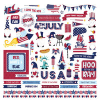 Photo Play Paper - Gnome for July 4th Collection - 12 x 12 Cardstock Stickers - Elements