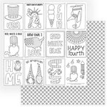 Photo Play Paper - Gnome for July 4th Collection - 12 x 12 Double Sided Paper - Color Me Sheet