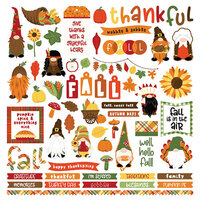 Photo Play Paper - Gnome for Thanksgiving Collection - 12 x 12 Cardstock Stickers - Elements