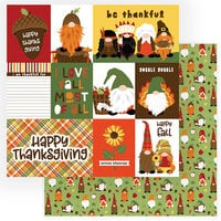 Photo Play Paper - Gnome for Thanksgiving Collection - 12 x 12 Double Sided Paper - Gobble Gobble