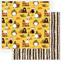 Photo Play Paper - Gnome for Thanksgiving Collection - 12 x 12 Double Sided Paper - Gather