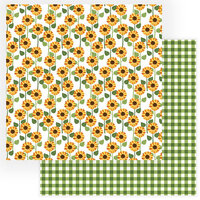 Photo Play Paper - Gnome for Thanksgiving Collection - 12 x 12 Double Sided Paper - Sunflowers