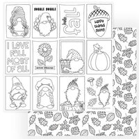 Photo Play Paper - Gnome for Thanksgiving Collection - 12 x 12 Double Sided Paper - Color Me Sheet