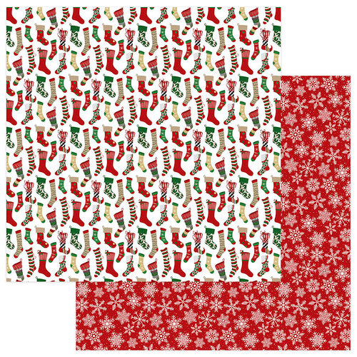 Photo Play Paper - Here Comes Santa Collection - Christmas - 12 x 12 Double Sided Paper - Stockings