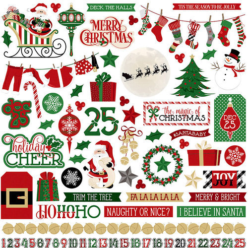 Photo Play Paper - Here Comes Santa Collection - Christmas - 12 x 12 Cardstock Stickers
