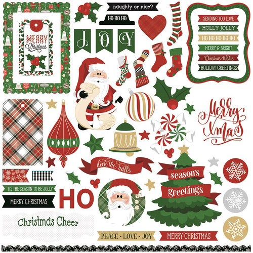 Photo Play Paper - Here Comes Santa Collection - Christmas - Card Kit - 12 x 12 Cardstock Stickers - Elements